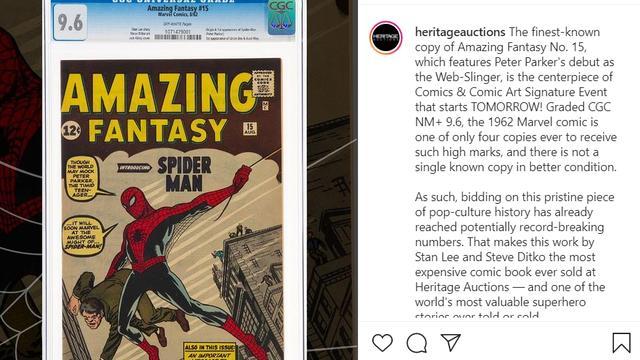 Het exemplaar van Amazing Fantasy #15. (Instagram/Heritage Auctions)