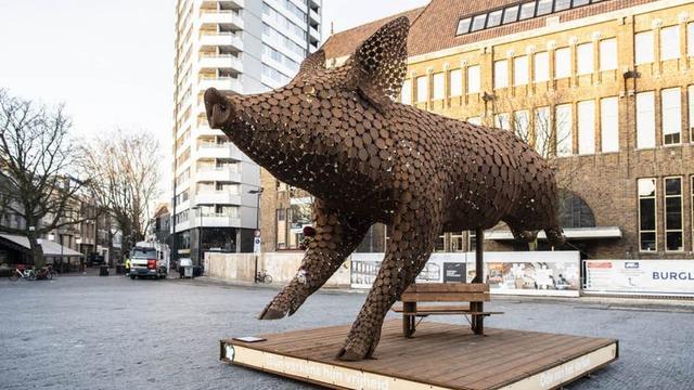 Kunstwerk dierenwelzijn 'Ode aan het Varken' is verwijderd van Neude