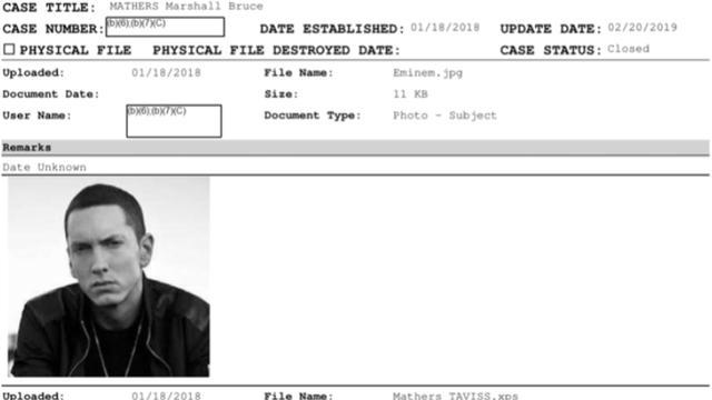 Een screenshot van het vrijgegeven dossier van de Amerikaanse Secret Service over Eminem