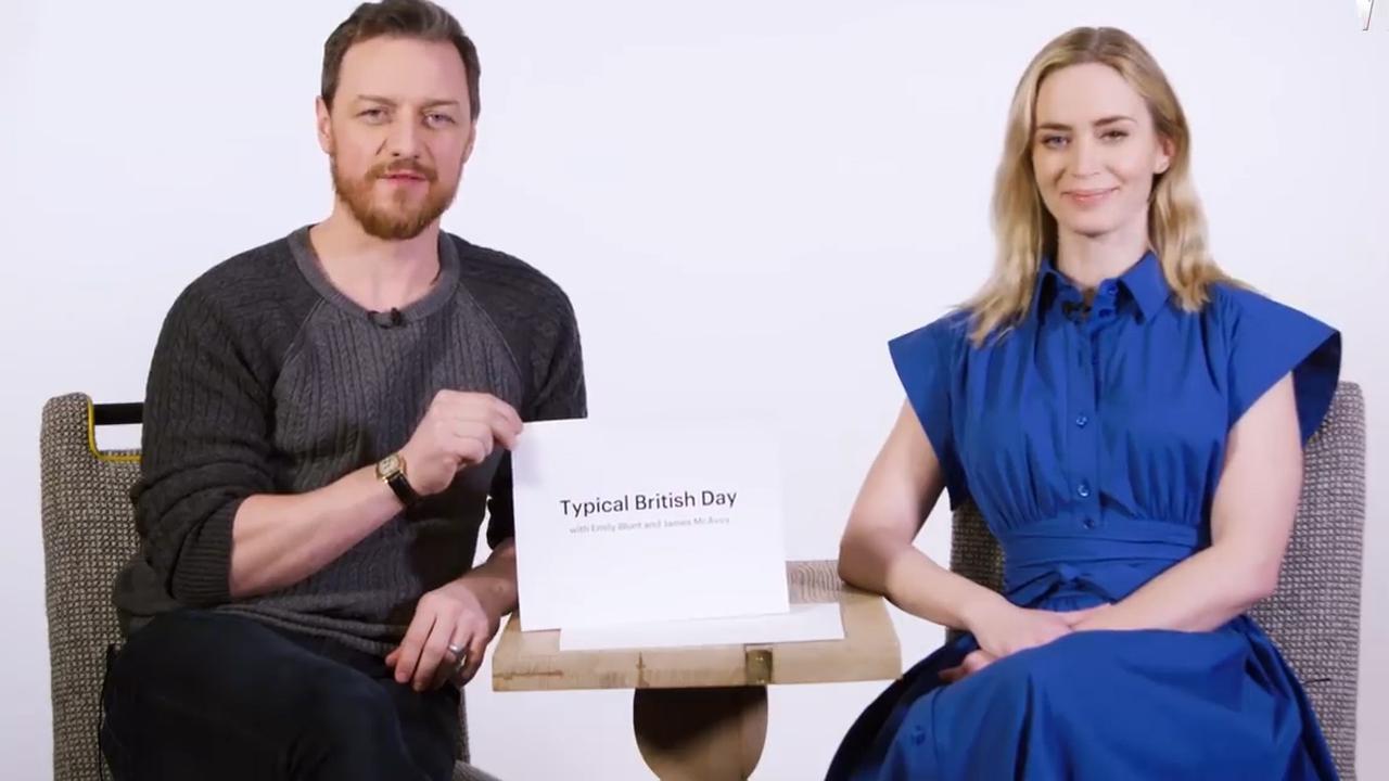 Emily Blunt en James McAvoy beschrijven een 'typische' Britse dag