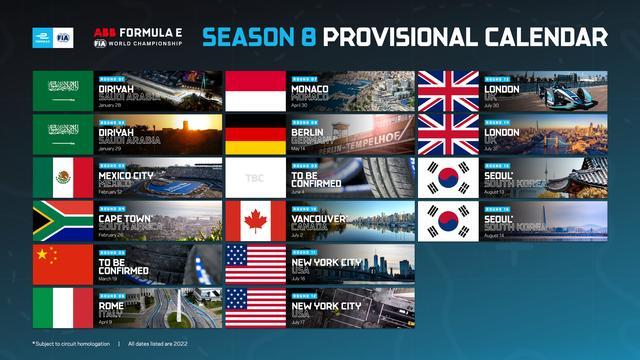 De Formule E-kalender van 2022.