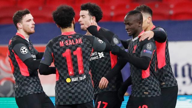 Liverpool viert een doelpunt tegen RB Leipzig.