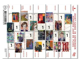 Twintig schilderijen sieren postzegelvel