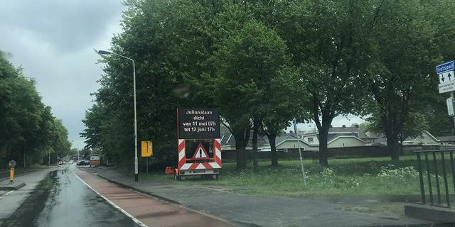 Julianalaan bij centrum Breda tot vrijdag dicht vanwege werkzaamheden