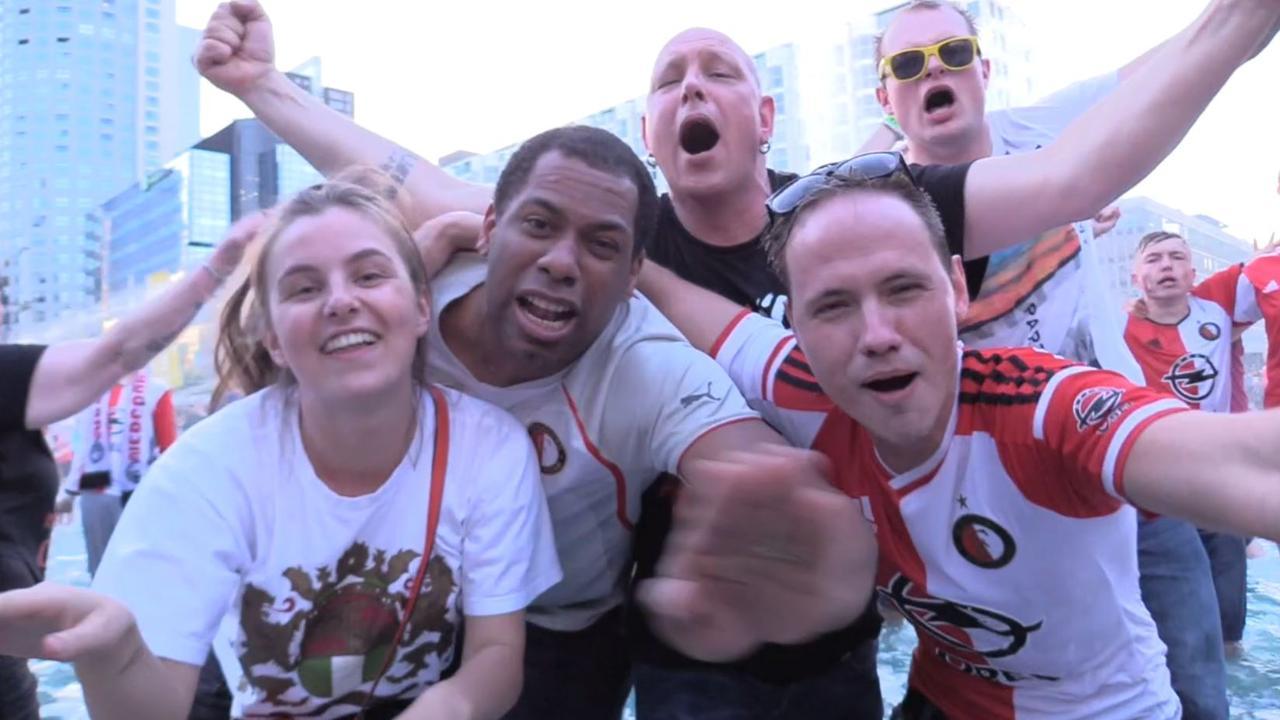 Feyenoord-supporters vieren uitbundig feest na bekerwinst