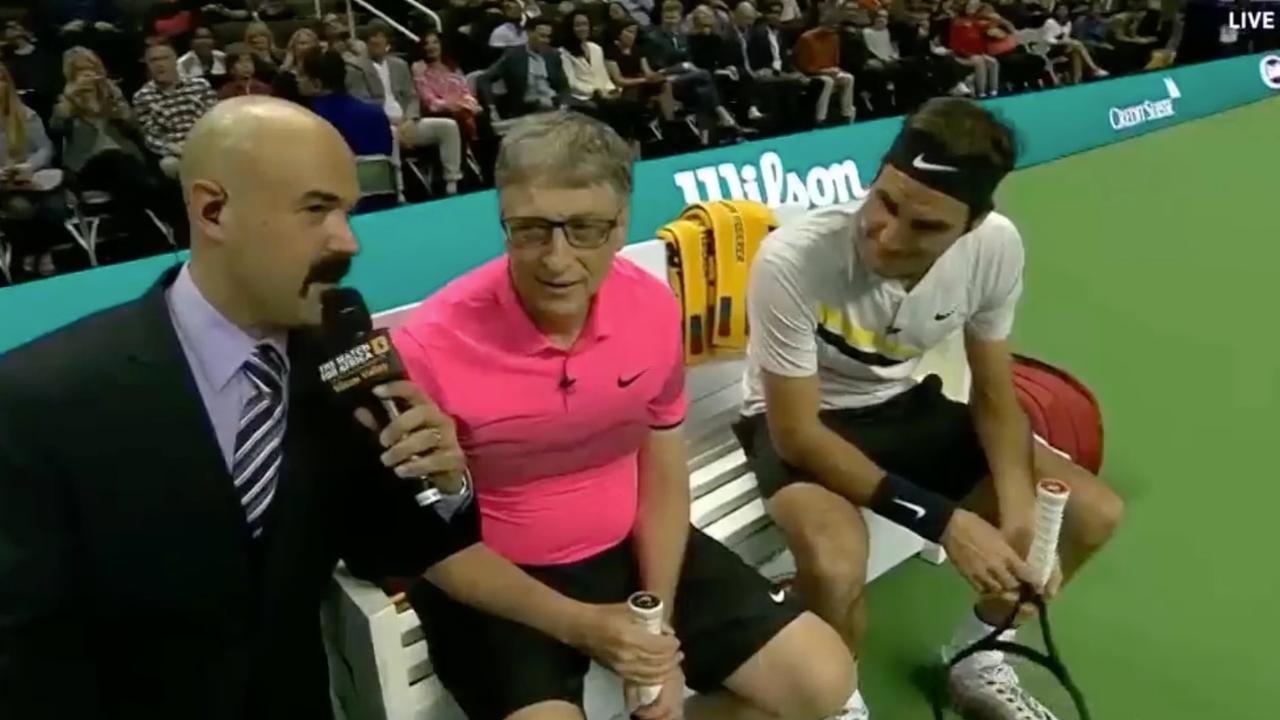 Federer zamelt ruim 2 miljoen euro in met dubbelpartner Bill Gates