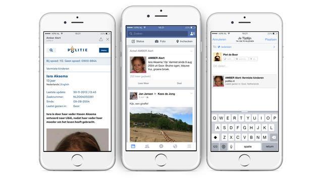Facebook Nederland waarschuwt alle gebruikers bij Amber Alert