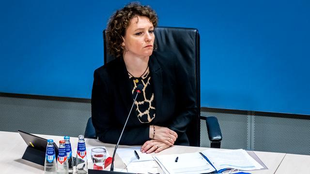 SP-Kamerlid Renske Leijten tijdens een van de verhoren van de ondervragingscommissie die onderzoek deed naar de toeslagenaffaire.